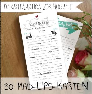 Hochzeitskarten Mad Lips - Lückentext Mint