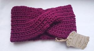 Turban, Stirnband, Ohrenwärmer aus Merinowolle, entworfen und handgestrickt von Elenono,  extra breit  weinrot