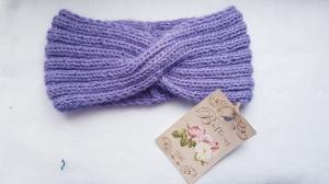 Stirnband aus Merinowolle und Seidenmohairmischung, handgestrickt von Elenono  extra breit  in Flieder kaufen