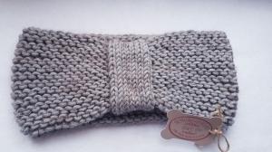 Turban, Ohrenwärmer, Stirnband aus Merinowolle und Seidenmohairgarnmischung, entworfen und handgestrickt von Elenono  extra breit in Grau
