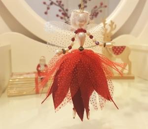 Einzigartige Weihnachtsfee aus Perlen, Kunsthandwerk, Deko,  Weihnachten, echte Handarbeit, Unikat in Rot Gold kaufen.
