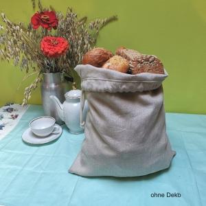 Brotbeutel aus Bioleinen mit Kordelverschluß - Größe M