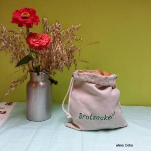Brotsackerl mit grüner Schrift, Brotbeutel aus Bioleinen, Größe S