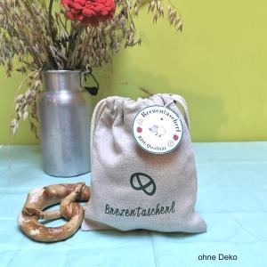 Brezentascherl aus Bioleinen mit grüner Schrift, Stofftasche für Kinder