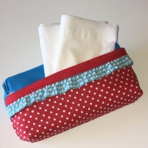 Taschentuchtasche, Taschentuchtascherl, TaTüTa, aus Baumwolle rot/türkis, mit Schmuckband für 10 Taschentücher