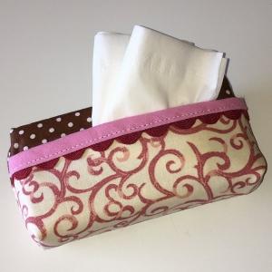 Taschentuchtasche, Taschentuchtascherl, TaTüTa, aus Baumwolle rosa/braun, mit Schmuckband für 10 Taschentücher