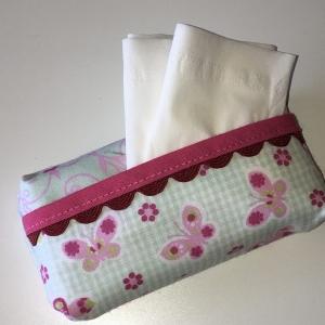Taschentuchtasche, Taschentuchtascherl, TaTüTa, aus Baumwolle mit/pink, mit Schmuckband für 10 Taschentücher   - Handarbeit kaufen
