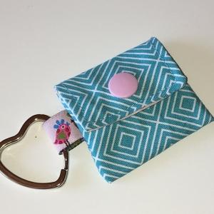 Chiptasche, Chiptäschchen, Tasche für Einkaufswagenchip, Baumwolle türkis/rosa, incl. Federring und Einkaufschip - Handarbeit kaufen
