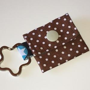 Chiptasche, Chiptäschchen, Tasche für Einkaufswagenchip, Baumwolle braun/Weiß, incl. Federring und Einkaufschip  - Handarbeit kaufen