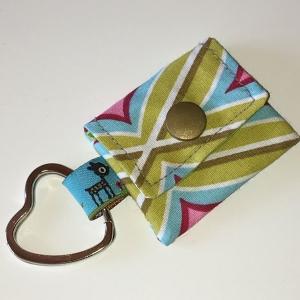 Chiptasche, Chiptäschchen, Tasche für Einkaufswagenchip, Baumwolle grün/türkis, incl. Federring und Einkaufschip   - Handarbeit kaufen