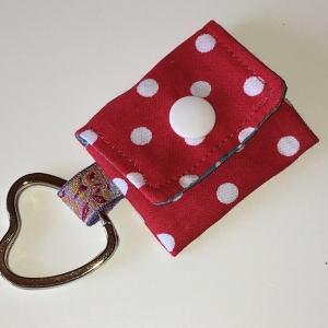 Chiptasche, Chiptäschchen, Tasche für Einkaufswagenchip, Baumwolle rot/weiß, incl. Federring und Einkaufschip - Handarbeit kaufen