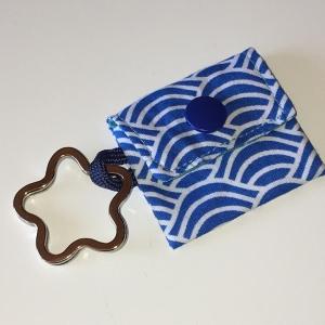 Chiptasche, Chiptäschchen, Tasche für Einkaufswagenchip, Baumwolle Wellen blau/weiß, incl. Federring und Einkaufschip  - Handarbeit kaufen