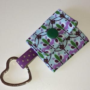 Chiptasche, Chiptäschchen, Tasche für Einkaufswagenchip, Baumwolle mint/lila/grün, incl. Federring und Einkaufschip - Handarbeit kaufen