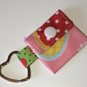 Chiptasche, Chiptäschchen, Tasche für Einkaufswagenchip, Baumwolle rosa/rot, incl. Federring und Einkaufschip  - Handarbeit kaufen