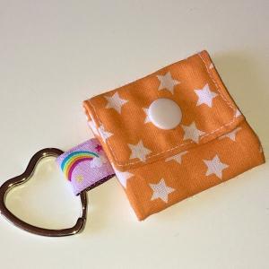 Chiptasche, Chiptäschchen, Tasche für Einkaufswagenchip, Baumwolle Sterne orange/weiß, incl. Federring und Einkaufschip  - Handarbeit kaufen