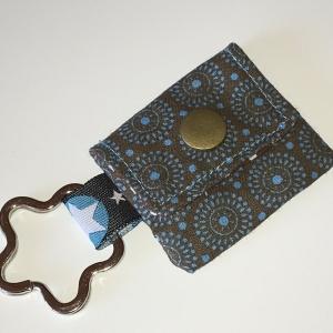 Chiptasche, Chiptäschchen, Tasche für Einkaufswagenchip, Baumwolle Retro braun/türkis incl. Federring und Einkaufschip  - Handarbeit kaufen