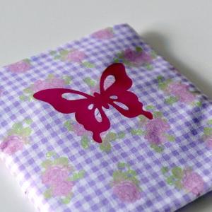 Genähter Bezug incl. Kalt/Warm Kompresse, aus Baumwolle, Hülle, Wärmekissen, Kältekissen, Coolpad, aus Baumwolle Schmetterling, flieder/rosa/pink