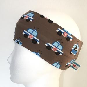 Kinderstirnband, Haarband, Ohrenwärmer, Kopfband, Jersey, 47-49 cm, Polizei braun/blau - Handarbeit kaufen