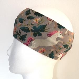 Kinderstirnband, Haarband, Ohrenwärmer, Kopfband, Jersey, 47-49 cm, Einhorn bunt - Handarbeit kaufen