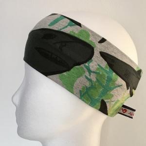 Kinderstirnband, Haarband, Ohrenwärmer, Kopfband, Jersey, 47-49 cm, Hai grau/grün - Handarbeit kaufen