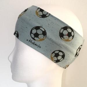 Kinderstirnband, Haarband, Ohrenwärmer, Kopfband, Jersey, 47-49 cm, Fussball mint - Handarbeit kaufen