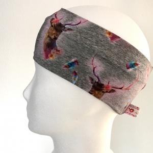 Kinderstirnband, Haarband, Ohrenwärmer, Kopfband, Jersey, 47-49 cm, Hirsche grau/bunt - Handarbeit kaufen