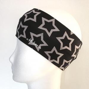 Kinderstirnband, Haarband, Ohrenwärmer, Kopfband, Jersey, 47-49 cm, Sterne schwarz - Handarbeit kaufen