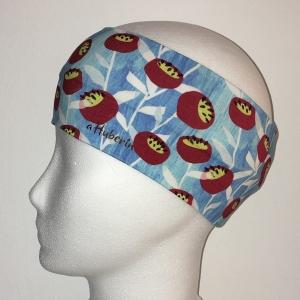 Kinderstirnband, Haarband, Ohrenwärmer, Kopfband, Jersey, 47-49 cm, Retroblume jeans/rot - Handarbeit kaufen