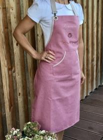 Schürze Küchenschürze Backschürze, Aufschrift: love - peace - Guglhupf ,Latzschürze Baumwolle, handgefertigt - Handarbeit kaufen