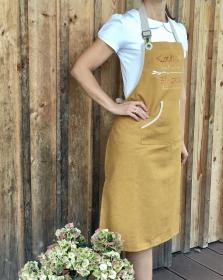 Schürze Küchenschürze Latzschürze, Aufschrift: Kochen ist wie zaubern können, handgefertigt, Baumwolle