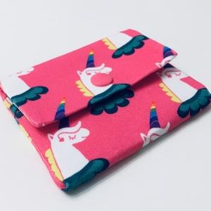 Geldbeutel Geldbörse Münztasche Kartenetui Minigeldbeutel , handgefertigt, Einhörner pink-bunt - Handarbeit kaufen