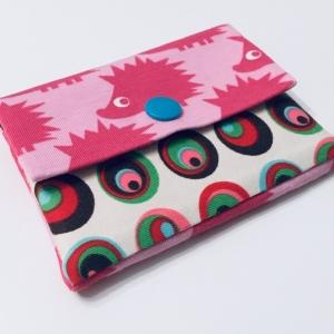 Geldbeutel Geldbörse Münztasche Kartenetui Minigeldbeutel , handgefertigt, Igel rosa-bunt - Handarbeit kaufen