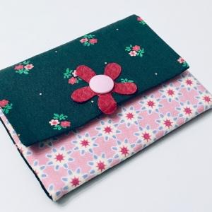 Geldbeutel Geldbörse Münztasche Kartenetui Minigeldbeutel , handgefertigt, rosa-grün - Handarbeit kaufen