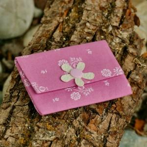 Geldbeutel, Geldbörse, Münztasche, Kartenetui, Minigeldbeutel, handgefertigt, Trachtenstoff rosa - Handarbeit kaufen