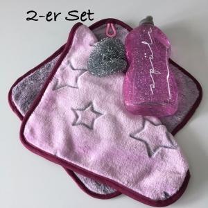 Waschlappen Seiftuch Abschminktuch Waschtuch Spültuch, 2-er Set Sterne, rosa/dunkelrot, Küchentuch Putzlappen  - Handarbeit kaufen