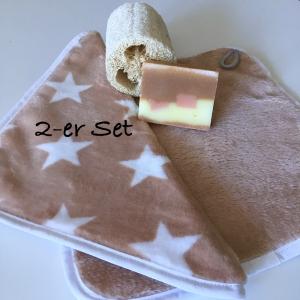 Waschlappen Seiftuch Abschminktuch Küchentuch Spültuch, 2-er Set, Sterne, beige/weiß, Putzlappen   - Handarbeit kaufen