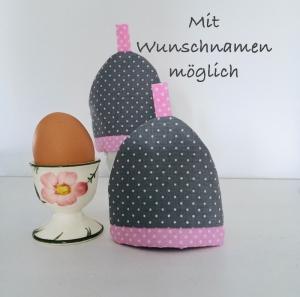 2-er Set Eierwärmer, Eierhütchen, Eiermütze, handgefertigt, personalisierbar, Baumwolle, grau / rosa - Handarbeit kaufen