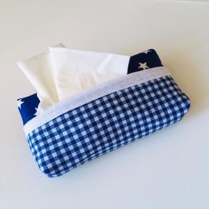 Taschentuchtasche, Taschentuchtascherl, TaTüTa, aus Baumwolle, Sterne, kariert, weiß/blau, für 10 Taschentücher - Handarbeit kaufen