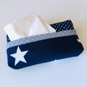 Taschentuchtasche, Taschentuchtascherl, TaTüTa, aus Baumwolle, Sterne, Tupfen, weiß/dunkelblau/grau, für 10 Taschentücher - Handarbeit kaufen