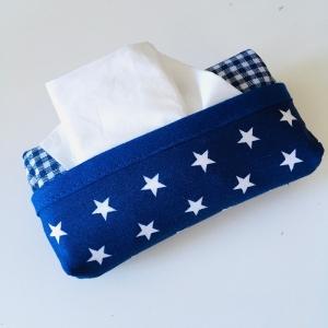 Taschentuchtasche, Taschentuchtascherl, TaTüTa, aus Baumwolle, Sterne, kariert, weiß/blau/blau, für 10 Taschentücher  - Handarbeit kaufen