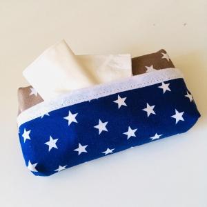 Taschentuchtasche, Taschentuchtascherl, TaTüTa, aus Baumwolle, Sterne, weiß/blau/beige, für 10 Taschentücher  - Handarbeit kaufen