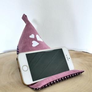 Handy Sitzsack, Smartphone Halter, Handykissen, Handyhalter, Pyramidenkissen, Handyständer, Baumwolle, rosa/aubergine mit Glitzerherzen - Handarbeit kaufen
