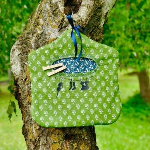 Wäscheklammerbeutel, Klammerbeutel, Glubberlsackerl, Klammerutensilo, Wäscheklammeraufbewahrung, Baumwolle, geblümt grün/blau - Handarbeit kaufen
