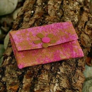 Geldbeutel, Geldbörse, Münztasche, Kartenetui, Geschenk zur Einschulung, Minigeldbeutel, handgefertigt, Pink mit gold - Handarbeit kaufen