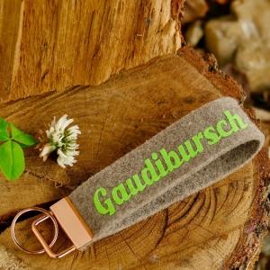 Schlüsselanhänger, Schlüsselband aus Wollfilz mit Aufschrift, Gaudibursch, Geschenk für Herren, Männergeschenk - Handarbeit kaufen