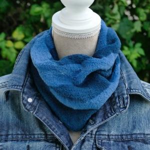 Loopschal, Schlauchschal, Fleeceschal, Kuschelschal, Kuschelloop, handgefertigt aus Wellnessfleece, blau/blau - Handarbeit kaufen