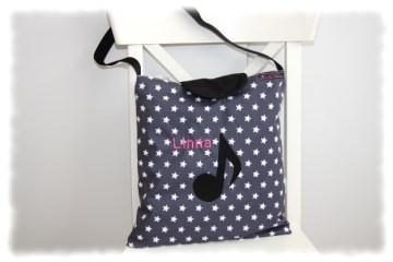 Noten-Tasche Flötentasche ´´STAR´´ grau einzeln angefertigt mit Note (Kopie id: 100035314)