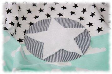Babydecke mint/schwarz 70 cm x 100 cm incl. Name einzeln angefertigt