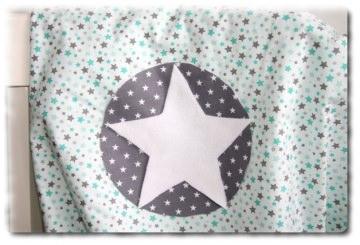 Babydecke  mint - grau mit Name im Stern einzeln angefertigt