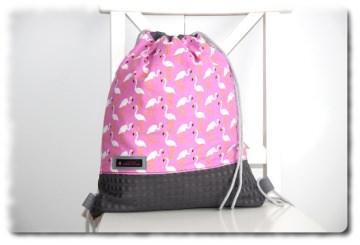 Rucksack Turnbeutel in Handarbeit  einzeln angefertigt in rosa/grau mit Flamingo